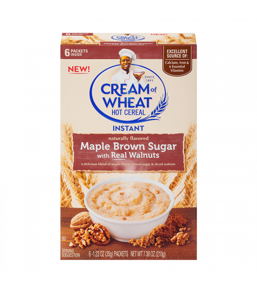 Cream Of Wheat Instant Maple Brown Sugar & Walnut  7.38oz (210g) Food and Groceries