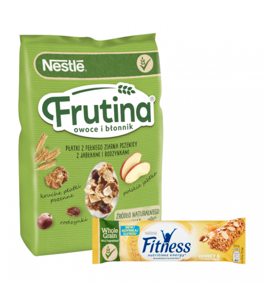 Nestlé Frutina Fruit and Fibre Cereal (250g) + Fitness Honey and Almond Cereal Bar (23.5g) Food and Groceries Nestlé