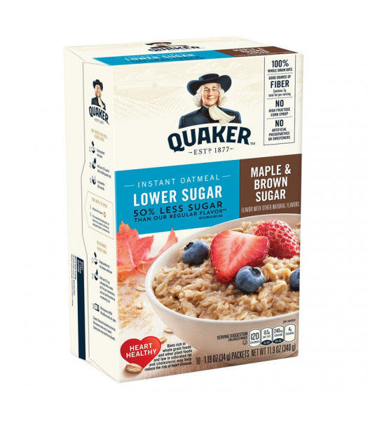 Quaker Instant Oatmeal Lower Sugar Maple & Brown Sugar - 11.9oz (340g) Food and Groceries Quaker