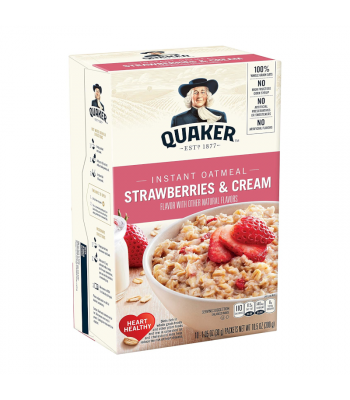 Clearance Special - Quaker Instant Oatmeal Strawberries & Cream - 10.5oz (300g) **Best Before: April 21** Clearance Zone