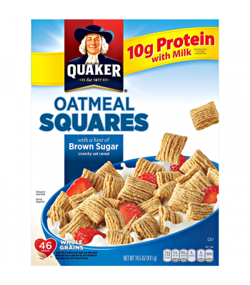 Quaker Oatmeal Squares Brown Sugar Cereal 14.5oz (411g) Breakfast & Cereals Quaker