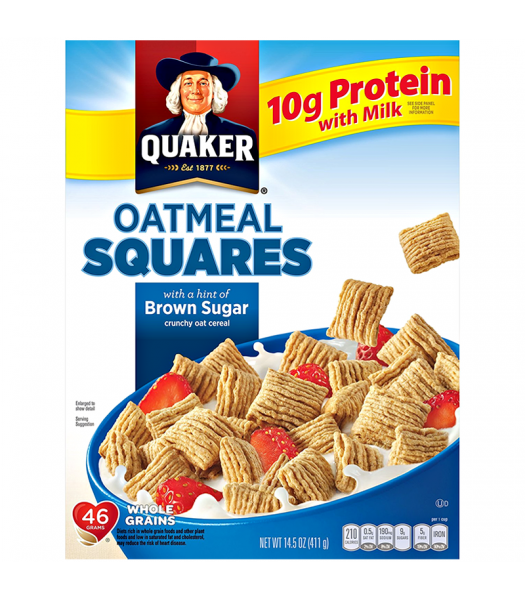 Clearance Special - Quaker Oatmeal Squares Brown Sugar Cereal 14.5oz (411g) **Best Before: Feb 21** Clearance Zone