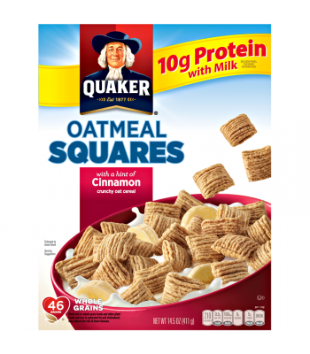 Quaker Oatmeal Squares Cinnamon Cereal 14.5oz (411g) Breakfast & Cereals Quaker