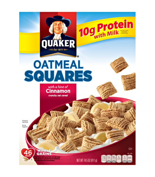 Clearance Special - Quaker Oatmeal Squares Cinnamon Cereal 14.5oz (411g) **Best Before: Dec 20/Slight Damage** Clearance Zone
