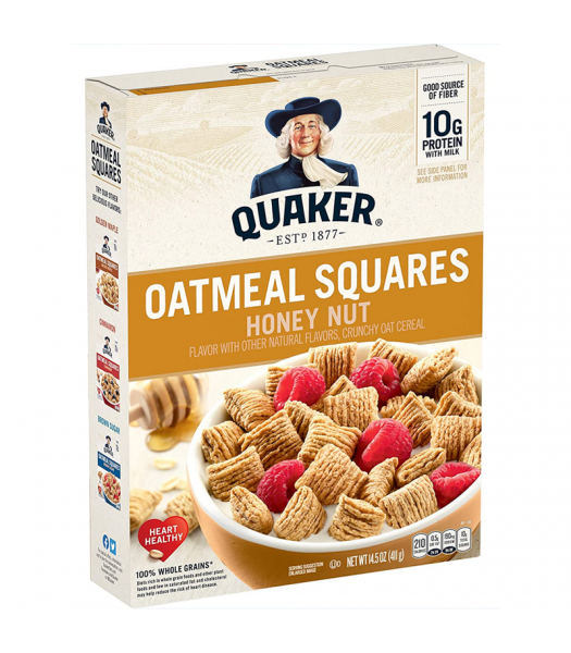 Quaker Oat Squares Honey Nut Cereal 14.5oz (411g) Food and Groceries Quaker