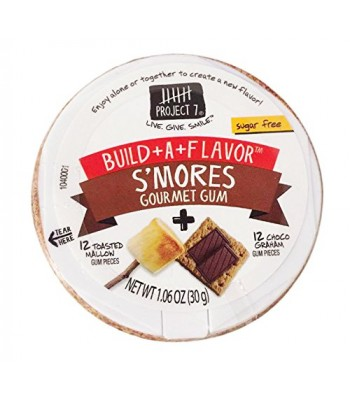 Project 7 Build-A-Flavour S'mores Sugar Free Gourmet Gum 1.06oz (30g) PUCK Bubble Gum Project 7