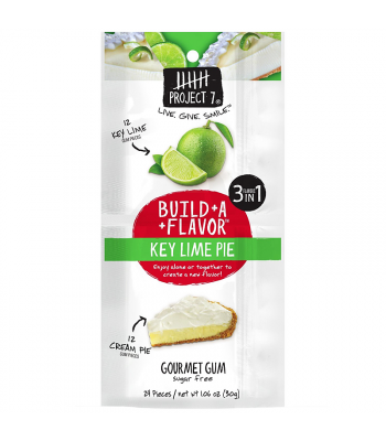 Project 7 Build-A-Flavour Key Lime Pie Sugar Free Gourmet Gum 1.06oz (30g) Bubble Gum Project 7