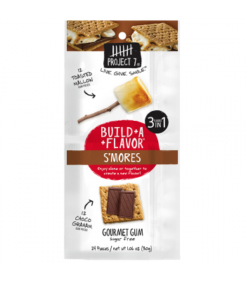 Clearance Special - Project 7 Build-A-Flavour S'mores Sugar Free Gourmet Gum 1.06oz (30g) **Best Before: October 19** Clearance Zone
