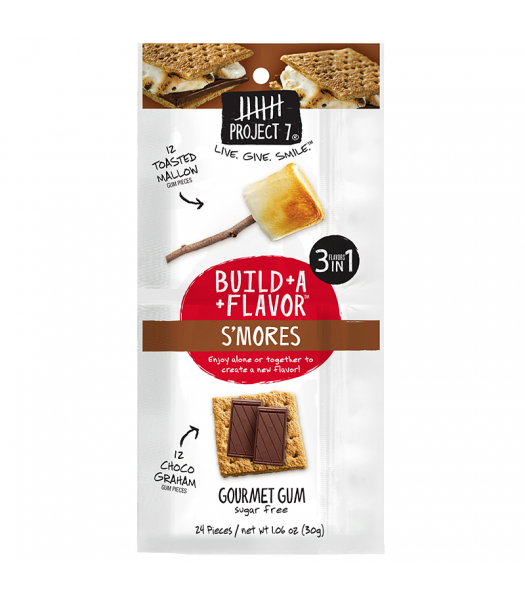 Project 7 Build-A-Flavour S'mores Sugar Free Gourmet Gum 1.06oz (30g) Bubble Gum Project 7