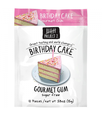 Project 7 Birthday Cake Sugar Free Gourmet Gum 0.53oz (15g)  Bubble Gum Project 7