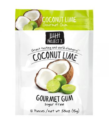 Project 7 Coconut Lime Sugar Free Gourmet Gum 0.53oz (15g)  Bubble Gum Project 7