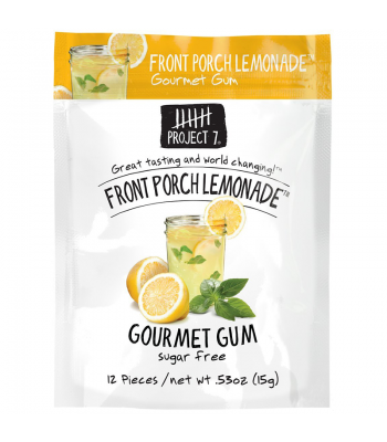 Clearance Special - Project 7 Front Porch Lemonade Sugar Free Gourmet Gum 0.53oz (15g) **Best Before: 29 January 18** Clearance Zone