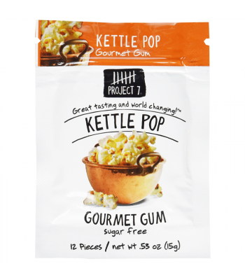 Clearance Special - Project 7 Kettle Pop Sugar Free Gourmet Gum 0.53oz (15g) ** Best Before: 23 February 2019** Clearance Zone