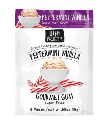 Clearance Special - Project 7 Peppermint Vanilla Sugar Free Gourmet Gum 0.53oz (15g) **Best Before: 24 March 18** Clearance Zone