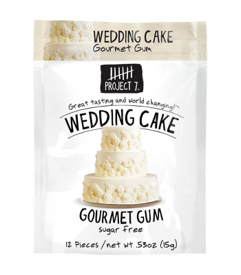 Project 7 Wedding Cake Sugar Free Gourmet Gum 0.53oz (15g) Bubble Gum Project 7