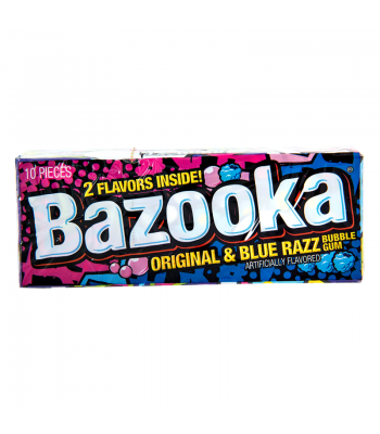 Bazooka Bubble Gum - Wallet Pack - 2 Flavours Original & Blue Razz - 10-Piece (2.11oz) Bubble Gum Bazooka