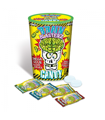 Brain Blasterz - Hard Extreme Sour Candy Container - Assorted Flavours - 48g Hard Candy Brain Blasterz