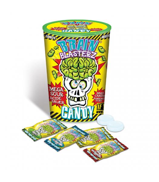 Brain Blasterz - Hard Extreme Sour Candy Container - Assorted Flavours - 48g Hard Candy Brain Blasterz