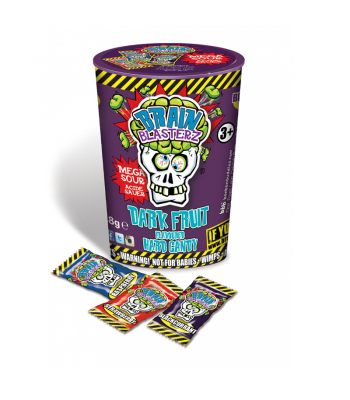 Brain Blasterz - Hard Extreme Sour Candy Container - Dark Fruit - 48g Hard Candy Brain Blasterz
