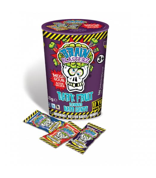 Brain Blasterz - Hard Extreme Sour Candy Container - Dark Fruit - 48g Hard Candy Brain Blasterz