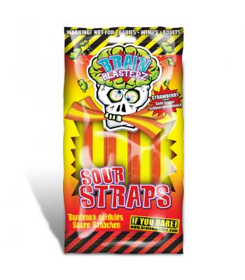 Brain Blasterz - Sour Straps - Strawberry Flavour - 150g Soft Candy Brain Blasterz