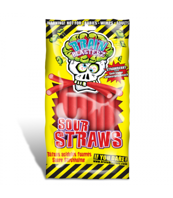 Brain Blasterz - Sour Straws - Strawberry Flavour 150g