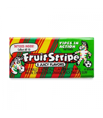 Fruit Stripe Bubble Gum 17pc 1.8oz (52g) Bubble Gum Fruit Stripe