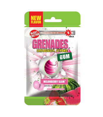 Clearance Special - Grenades Gum - MelonBerry Slam - 5 Piece (10g) ** Best Before: 31 December 2018 ** Clearance Zone