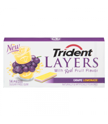 Trident Layers Grape Lemonade Gum 14 piece Bubble Gum Trident