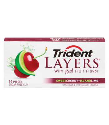 Trident Layers Sweet Cherry & Island Lime Flavour Sugar Free Chewing Gum 14-Piece Bubble Gum Trident