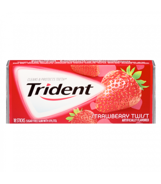 Trident Strawberry Twist Flavor Gum 18 Sticks Bubble Gum Trident