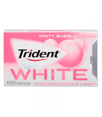 Trident White Sugar Free Minty Bubble Gum 16-Sticks Sweets and Candy Trident