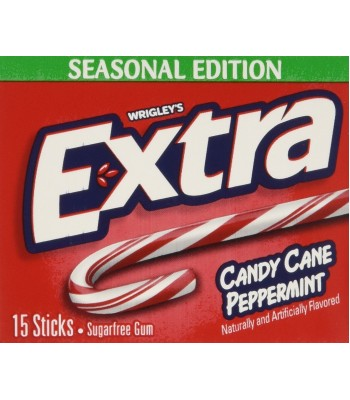 Wrigleys Extra Limited Edition - Candy Cane Peppermint Gum - Slim 15 Stick Pack Bubble Gum Wrigley's
