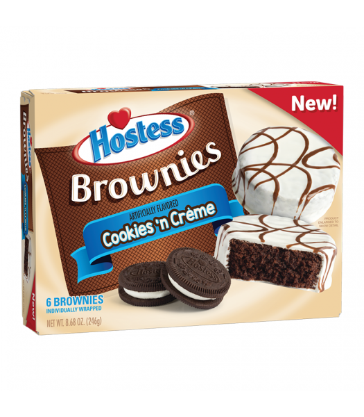 Hostess Cookies 'n Crème Brownies - 6-Pack - 8.68oz (246g) Cookies and Cakes Hostess