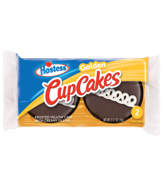 Hostess Golden Cupcakes - Twin Pack - 3.17oz (90g) Cookies and Cakes