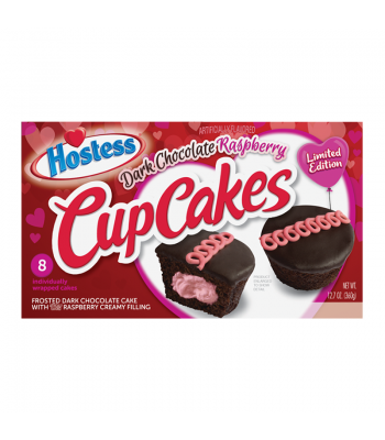 Hostess Valentines Cup Cakes Dark Chocolate Raspberry 8-Pack - 12.7oz (360g) Cookies and Cakes Hostess
