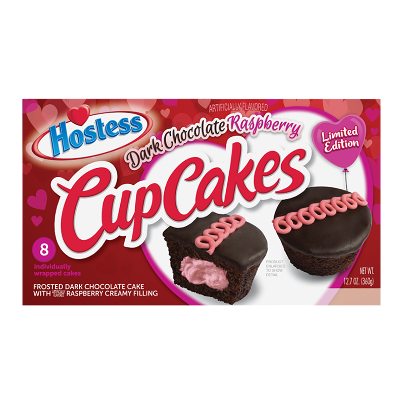 Hostess Valentines Cup Cakes Dark Chocolate Raspberry 8 Pack 127