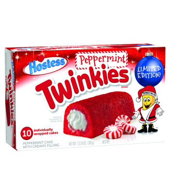 Hostess Holiday Peppermint Twinkies 10-Pack - 13.58oz (385g) Cookies and Cakes Hostess