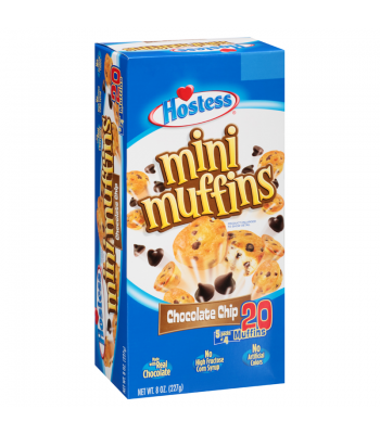 Hostess Chocolate Chip Mini Muffins 20 Muffin Box (5 x 4-Muffin Pouches) 8oz (227g) Snack Cakes Hostess
