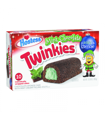 Hostess Mint Chocolate Twinkies 10-Pack - 13.58oz (385g) [Christmas] Cookies and Cakes Hostess