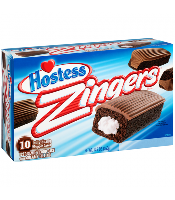 Hostess Zingers Chocolate Devils Food Cake - 10 Pack Box Snack Cakes Hostess