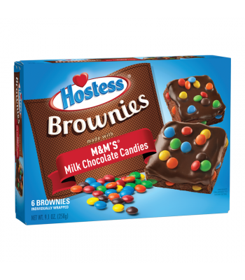 Hostess M&M's Brownies - 6 Pack Box Snack Cakes Hostess