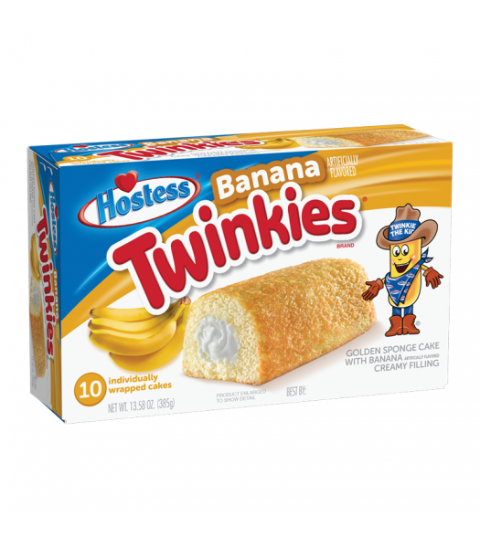 Hostess Banana Creme Twinkies 10-Pack 13.58oz (385g) Cookies and Cakes Hostess