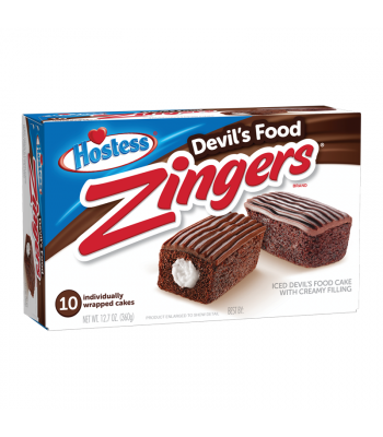 Hostess Zingers Chocolate Devils Food Cake 10-Pack 12.7oz (360g) Cookies and Cakes Hostess