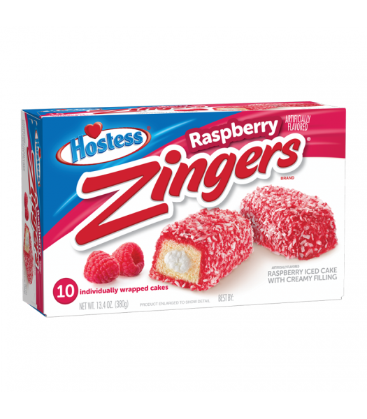Hostess Zingers Raspberry 10-Pack 13.4oz (380g) Cookies and Cakes Hostess