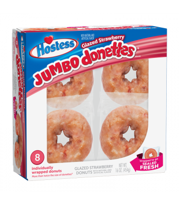 Hostess Glazed Strawberry Jumbo Donettes 8-Pack - 16oz (454g) Cookies and Cakes Hostess