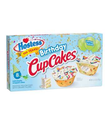 Hostess Limited Edition Birthday CupCakes 8-Pack- 13.1oz (371g) Cookies and Cakes Hostess