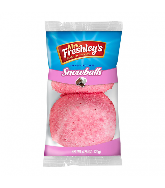Mrs Freshley's Pink Snowballs Cakes Twin Pack Snack Cakes Mrs Freshley's