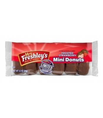 Mrs Freshley's Chocolate Strawberry Mini Donuts 6 Pack 3.3oz (94g) Donuts Mrs Freshley's