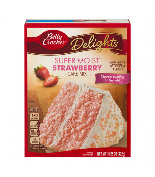 Betty Crocker Delights Super Moist Strawberry Cake Mix - 15.25oz (432g) Food and Groceries Betty Crocker